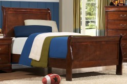Mayville Brown Cherry Twin Sleigh Bed Available Online in Dallas Fort Worth Texas