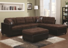 Mallory Chocolate 3pc Sectional & Ottoman Available Online in Dallas Fort Worth Texas