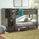 Wrangle Gun Smoke Twin/Twin Stairway Storage Bunk Bed Available Online in Dallas Fort Worth Texas