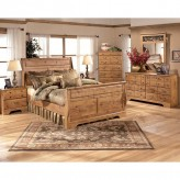 Ashley Bittersweet 5pc Pine King Sleigh Bedroom Group Available Online in Dallas Fort Worth Texas