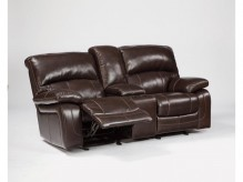 Damacio Dark Brown Glider Loveseat with Console Available Online in Dallas Fort Worth Texas