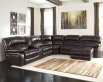 Damacio 6pc Dark Brown Right Arm Facing Power Chaise Sectional Available Online in Dallas Fort Worth Texas