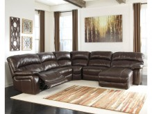 Damacio 5pc Dark Brown Right Arm Facing Power Chaise Sectional Available Online in Dallas Fort Worth Texas