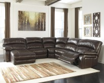 Damacio 5pc Dark Brown Left Arm Facing Power Chaise Sectional Available Online in Dallas Fort Worth Texas