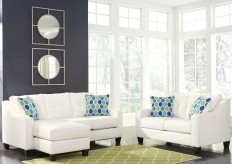 Ashley Aldie Nuvella White 2pc Sofa Chaise & Loveseat Set Available Online in Dallas Fort Worth Texas