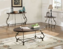 Coaster Jabard 3pc Cherry Brown & Antique Pewter Coffee Table Set Available Online in Dallas Fort Worth Texas