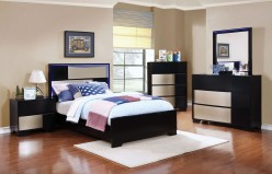 Coaster Havering 5pc Black/Sterling Twin Platform Bedroom Group Available Online in Dallas Fort Worth Texas