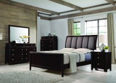 Coaster Madison 5pc Dark Merlot Queen Panel Upholstered Bedroom Group Available Online in Dallas Fort Worth Texas