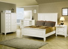 Sandy Beach White 5pc Cal King Panel Bedroom Group Available Online in Dallas Fort Worth Texas