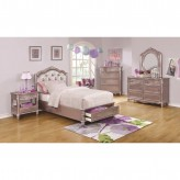 Coaster Caroline 5pc Metallic Lilac Queen Storage Platform Bedroom Group Available Online in Dallas Fort Worth Texas