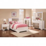 Coaster Havering 5pc Blanco/Sterling Twin Panel Bedroom Group Available Online in Dallas Fort Worth Texas