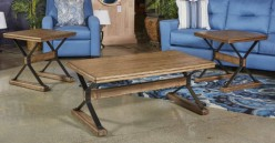 Ashley Flextura 3pc Light Brown Coffee Table Set Available Online in Dallas Fort Worth Texas