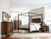 Homelegance Verlyn 5pc Cherry Queen Canopy Bedroom Group Available Online in Dallas Fort Worth Texas