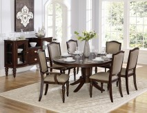 Homelegance Marston 7pc Dark Cherry Oval Dining Table Set Available Online in Dallas Fort Worth Texas