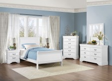 Mayville 5pc White Twin Sleigh Bedroom Group Available Online in Dallas Fort Worth Texas