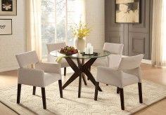 Homelegance Massey 5pc Espresso Round Glass Top Dining Table Set Available Online in Dallas Fort Worth Texas