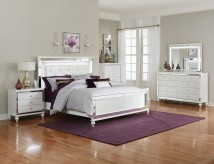 Alonza 5pc White Upholstered Queen Bedroom Group Available Online in Dallas Fort Worth Texas