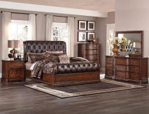 Homelegance Brompton Lane 5pc Dark Brown Queen Sleigh Bedroom Group Available Online in Dallas Fort Worth Texas