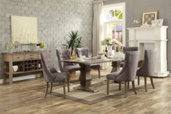 Homelegance Anna Claire Oak 7pc Rectangular Dining Table Set with Wing Side Chair Available Online in Dallas Fort Worth Texas