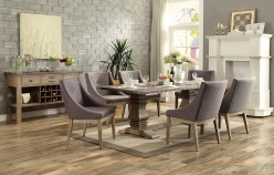 Homelegance Anna Claire Oak 7pc Rectangular Dining Table Set With Arm Chair Available Online in Dallas Fort Worth Texas