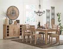 Homelegance Colmar 7pc Light Burnished Oak Dining Table Set Available Online in Dallas Fort Worth Texas