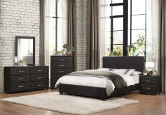 Lorenzi 5pc Black Queen Platform Bedroom Group Available Online in Dallas Fort Worth Texas
