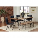 Coaster Chambler 5pc Natural Honey/Charcoal Rectangular Dining Table Set Available Online in Dallas Fort Worth Texas