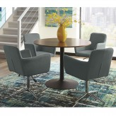 Coaster Montoya 5pc Walnut/Blue Round Dining Table Set Available Online in Dallas Fort Worth Texas