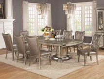 Coaster Danette 9pc Metallic Platinum Dining Table Set Available Online in Dallas Fort Worth Texas