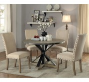 Coaster Tobin 5pc Driftwood Grey Round Dining Table Set Available Online in Dallas Fort Worth Texas