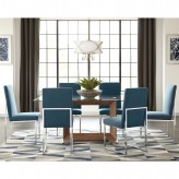 Jackson 7pc Walnut Glass Top Dining Table Set Available Online in Dallas Fort Worth Texas