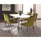 Riverbank 7pc White and Chrome Dining Table Set Available Online in Dallas Fort Worth Texas
