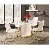 Coaster Cornelia 5pc High Gloss White Dining Table Set Available Online in Dallas Fort Worth Texas