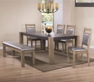 Coaster Ludolf 5pc Dark Concrete and Antique Natural Dining Table Set Available Online in Dallas Fort Worth Texas