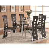 Coaster Los Feliz 7pc Matte Silver Counter Height Table Set Available Online in Dallas Fort Worth Texas