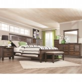 Franco 5pc Burnished Oak King Panel Bedroom Group Available Online in Dallas Fort Worth Texas
