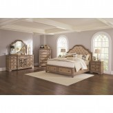 Ilana 5pc Antique Linen King Panel Storage Bedroom Group Available Online in Dallas Fort Worth Texas