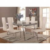 Coaster Giovanni 7pc High Gloss Grey Dining Table Set Available Online in Dallas Fort Worth Texas