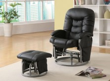 Mark Black Glider Recliner with Matching Ottoman Available Online in Dallas Fort Worth Texas