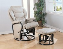 Coaster Tarrak Bone Glider Rocker with Round Base Ottoman Available Online in Dallas Fort Worth Texas