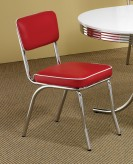 Coaster Cleveland Chrome Plated Red Side Chair Available Online in Dallas Fort Worth Texas