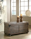 Ashley Vennilux Gray/Brown Storage Coffee Table Available Online in Dallas Fort Worth Texas
