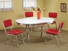 Coaster Cleveland Oval 5pc Red Dining Set Available Online in Dallas Fort Worth Texas