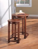 Coaster Cherry 2pc Round Nesting Table Available Online in Dallas Fort Worth Texas