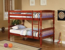Coral Twin/Twin Cherry Bunk Bed Available Online in Dallas Fort Worth Texas