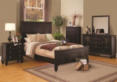 Sandy Beach Black 5pc King Panel Bedroom Group Available Online in Dallas Fort Worth Texas